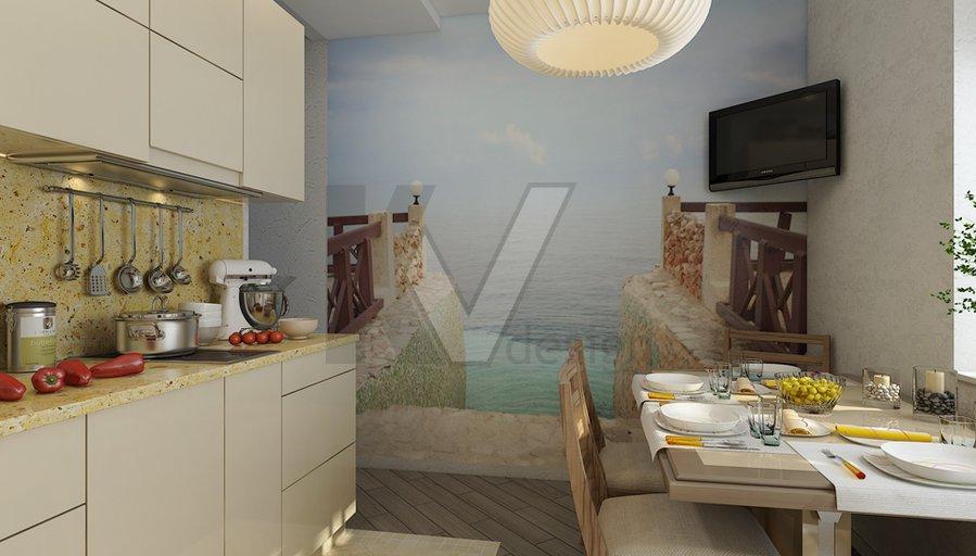 Гостиная-кухня в морском стиле