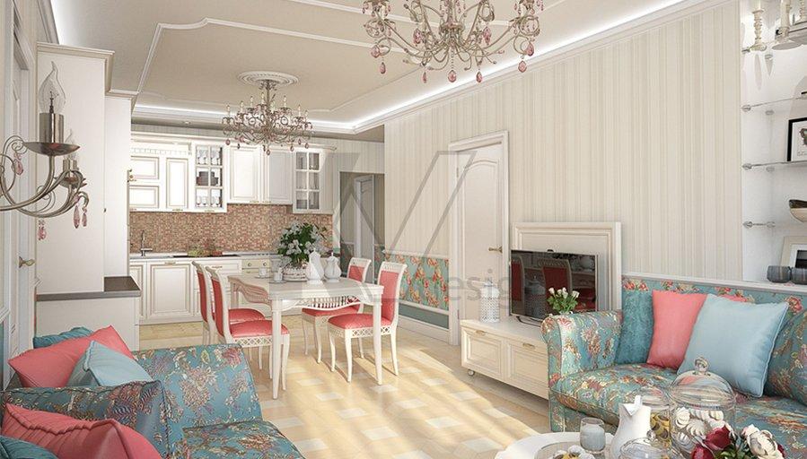 Гостиная в стиле Прованс, Коломенская